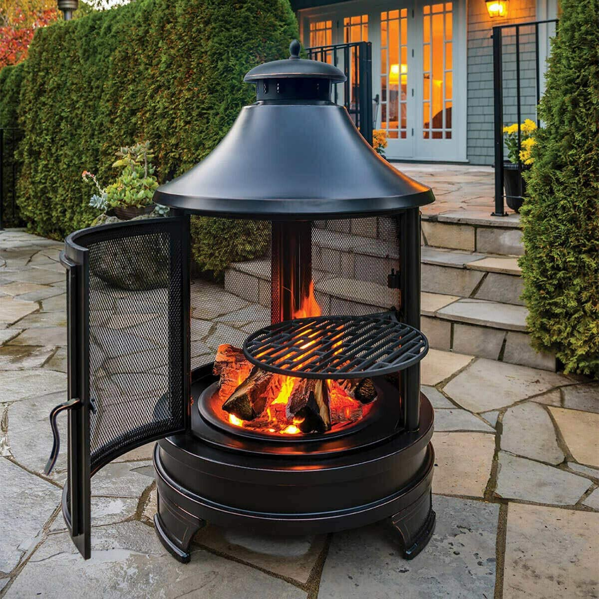 Fireplace Chimnea With Cooking Grill Fire Pit Firepit Barbecue Buy Smokeless Indoor Fire Pit Ceramic Fire Pit Terracotta Fire Pits Product On Alibaba Com