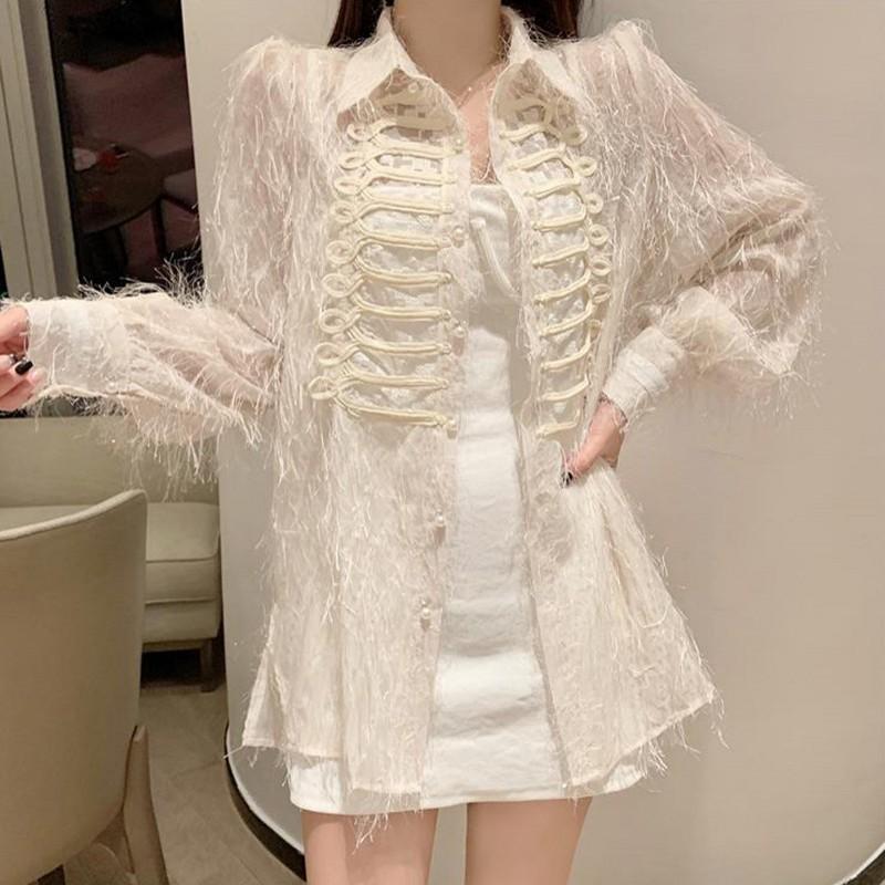 Горячее предложение, сексуальное женское Прозрачное платье-рубашка с жемчугом, однобортное мини-платье с кисточками и пышными рукавами, ве...(Китай)