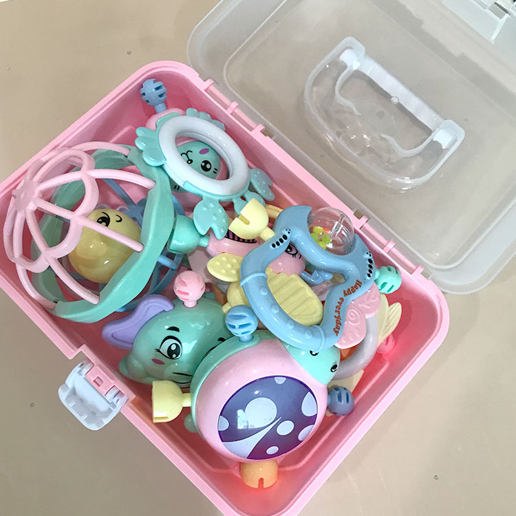 Storage box 11 piece set new born rattles teether cute plastic baby toy rattle