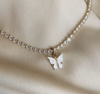 14 inch white tennis chain with butterfly   necklace