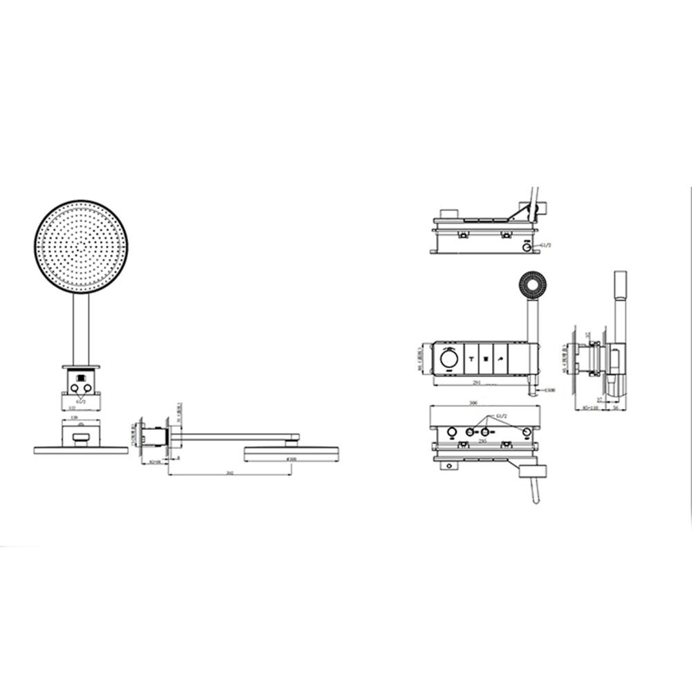 Американский Многофункциональный термостатический скрытый смеситель для ванной комнаты