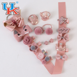 Children's hair accessories set fabric cute hair rope hairpin cartoon bow gift box