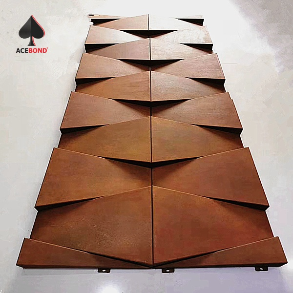ACEBOND Special Design Oxidized surface aluminum solid panel for Plaza Building