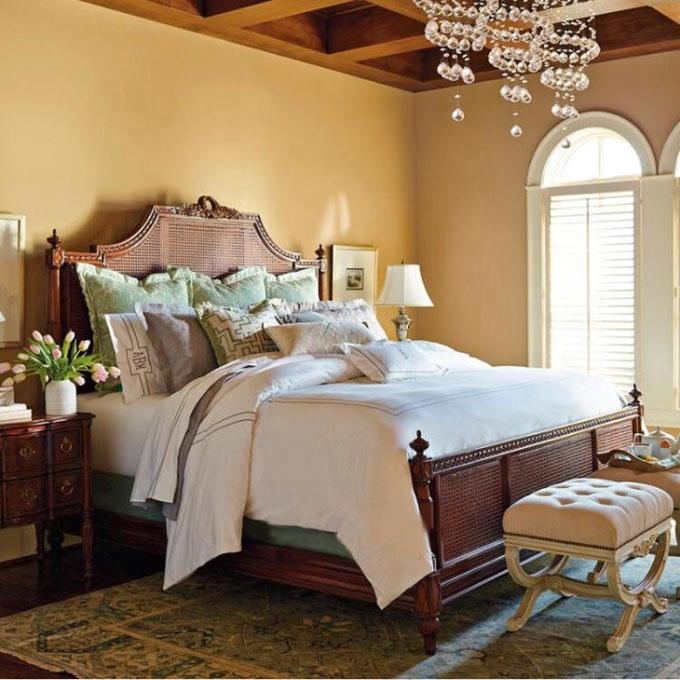 Лидер продаж, винтажная мебель для спальни во французском стиле, деревянная ротанговая плетеная тростниковая двуспальная кровать