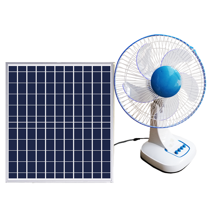 12 Inch 18v rechargeable solar table fan with led light