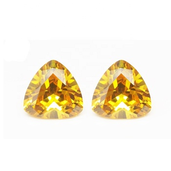Precious yellow trillion cut cubic zirconia gems