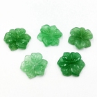 Natural Carved Jewelry Green Aventurine Flower Gemstone Hand Made 15mm Engrave Jade Jewellery Engraved Pendants with Hole