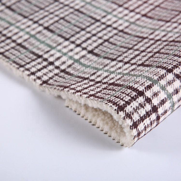 Good Selling Warm Recycle Polyester Plaid Upholstery Microfiber Suede Fabric Faux