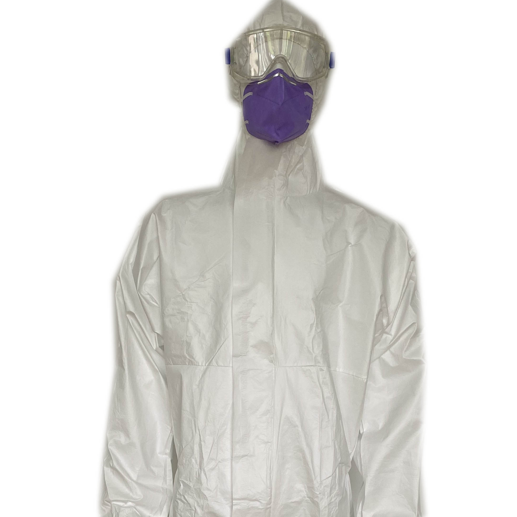 disposable non woven protective coverall waterproof working overalls safety protection clothing with hood and shoe cover - KingCare | KingCare.net