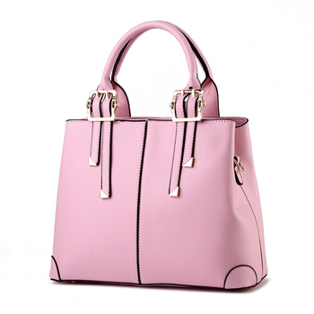 latest female stylish tote brand high quality pu hot travel quilted pink large shoulder handbags supplier