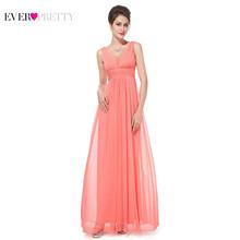 Платье для выпускного бала, длинное, простое, с глубоким треугольным вырезом, без рукавов, с рюшами, из шифона, для свадебной вечеринки, плать...(China)