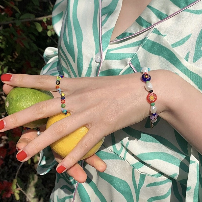DIY Y2K Trendy Colol Bead Cute Accessories Fashion Bracelet Necklace Fingger Ring Flaring Jewelry Set For Women
