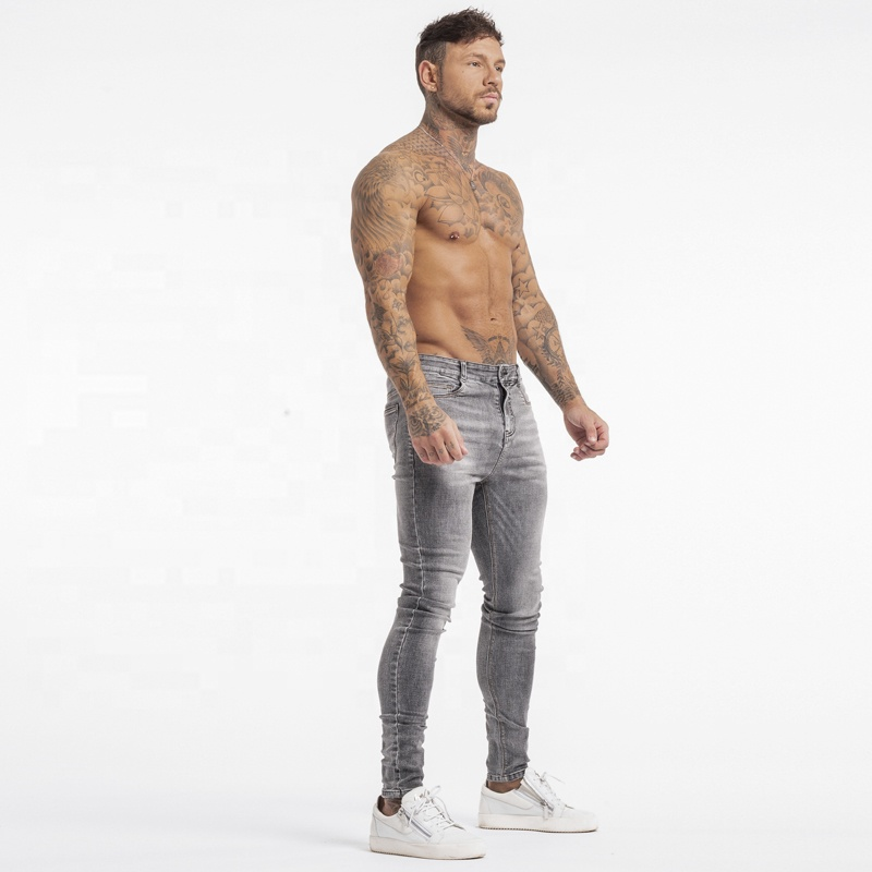 mens dropship non-ripped jeans pants slim fit skinny denim distressed skinny jeans men super shredz jens for man