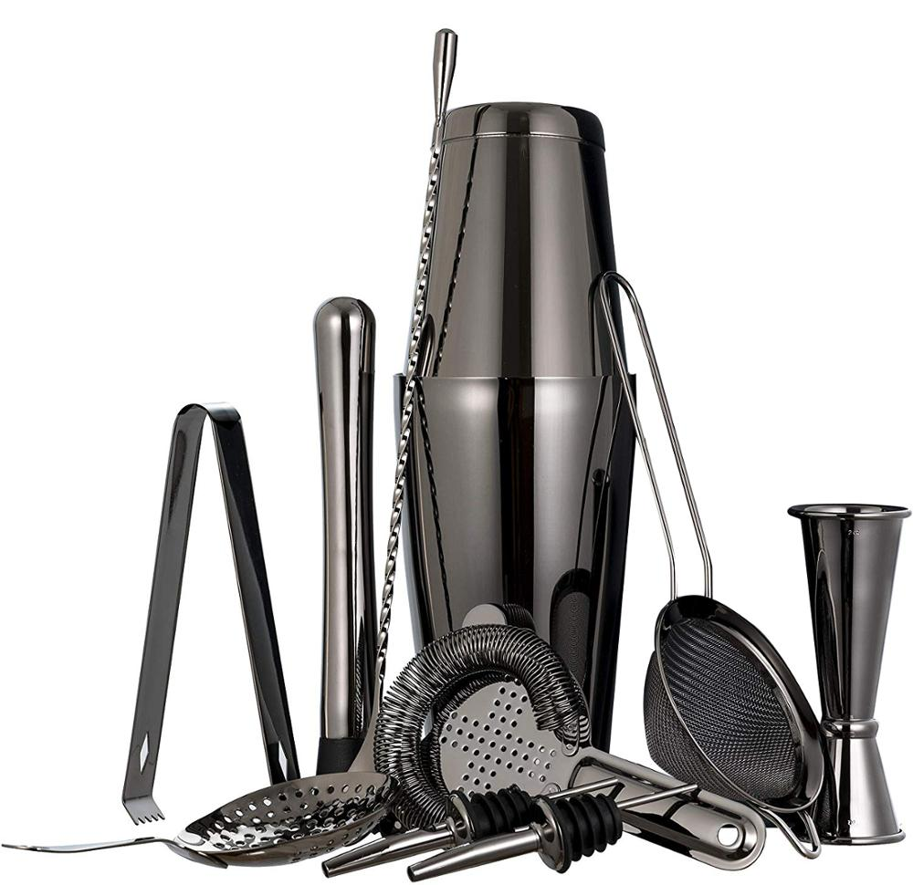 11 Piece Black Cocktail Shakers Set 750ML Cocktail Shakers Stainless Steel Cocktail Making Bar Tool Kit with Accessories