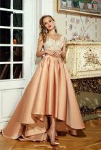Элегантное розовое Золотое ТРАПЕЦИЕВИДНОЕ вечернее платье с прозрачной шеей и высоким низким вырезом, платье для выпускного вечера с Иллюз...(Китай)