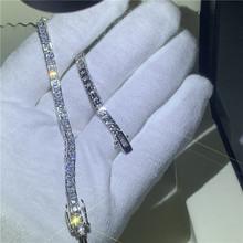 Женский теннисный браслет с фианитом AAAAA, вечерние браслеты из белого золота с огранкой принцессы, 4 цвета, свадебные украшения(Китай)