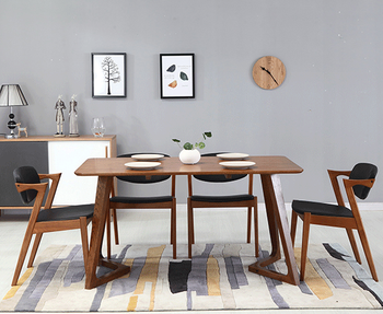 japanese pure wood dining table and chair combination rectangular simple small family table