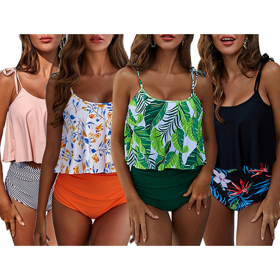 Womens Ruffle Floral Printed Two Pieces Top High Waist Bottom Tankini Sets Flowy Beach Swimwear