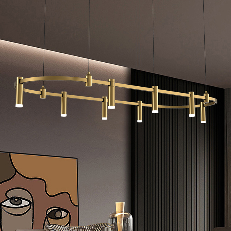 New Beautiful Led Pandent Light Gold Rectangular Round Dining Area Luxury Modern Chandelier For Dining Room