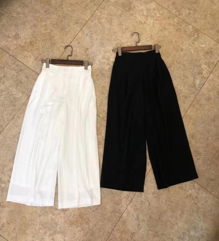 Fanshion Women's High Waist Wide Leg Ninth Pants Adjustable Elastic Waist Trousers For Women