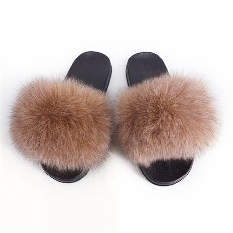 custom raccoon fox faux fur slide sandals Custom Women Fashion Fur Slides