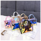 Holographic Clear 2021 Hot Selling Laser Clear Purses Sets Fashion Transparent Handbag Women PVC Holographic Jelly Purses Handbags In Bulk