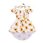 Economic Dress Daisy Halter Dress Cotton Chic Skirt Baby Girls Designs Kids Summer for Children Sleeveless Floral Pattern Short