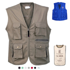 Mens Vest Custom Gray Utility Reporter Multi Pocket RPET Mens Working Uniform Cargo Vest
