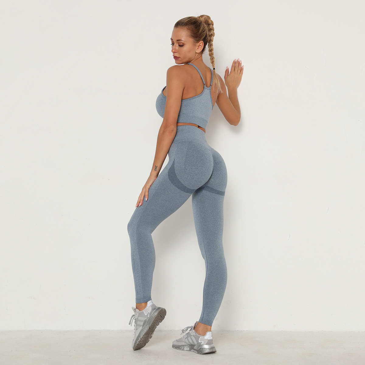 Оптовая продажа, одежда для фитнеса и йоги, тренировочный комплект из двух предметов, спортивная одежда, бюстгальтер и спортивные Леггинсы, бесшовный комплект для йоги