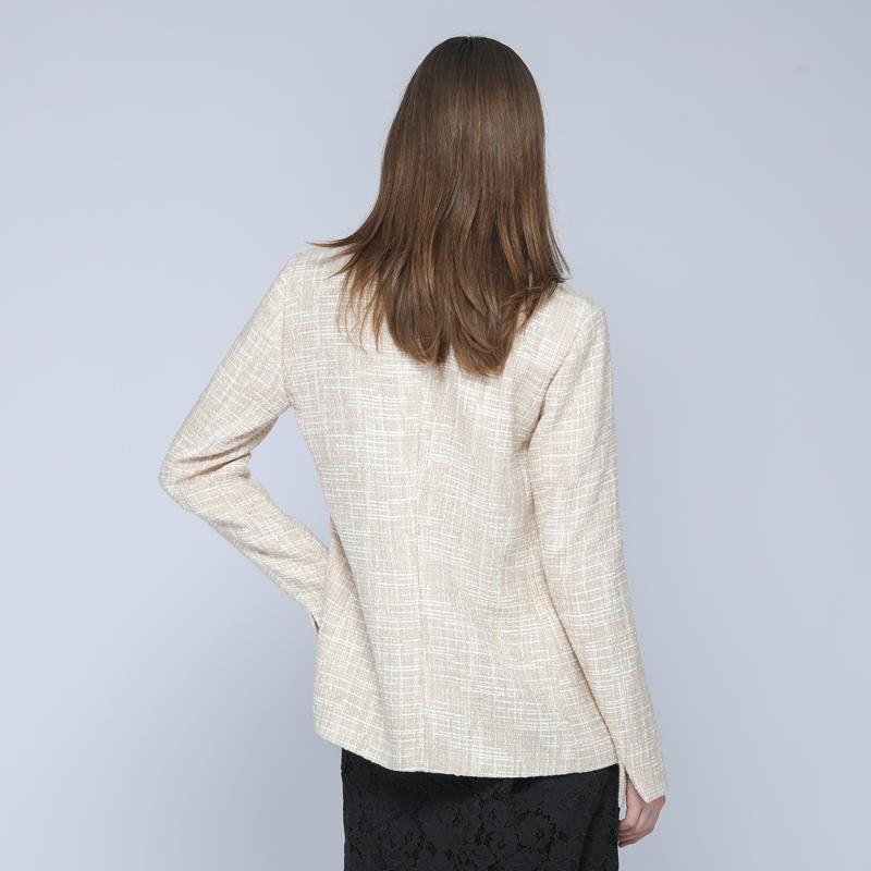 Женский двубортный твидовый пиджак Huiquan, хлопковый блейзер из смешанного твида