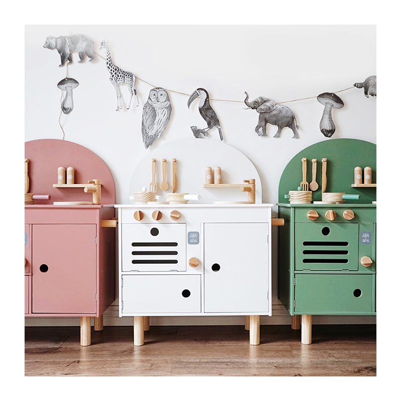 ins style Nordic wooden kitchen toy wooden children's simple big  kitchen toy set Play house toys