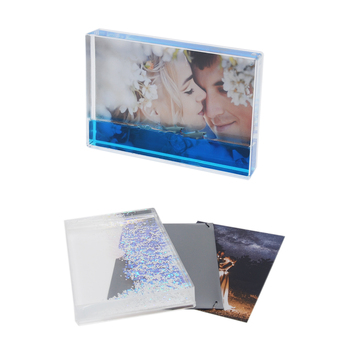 Rectangle Shape Photo Insert Acrylic With Water Glitter Floating Sparkle Photo Frame