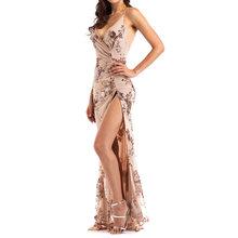 Платье для выпускного вечера 2020, длинное платье-Русалка с треугольным вырезом, без рукавов, с открытой спинкой, с блестками, на шнуровке, с цв...(China)