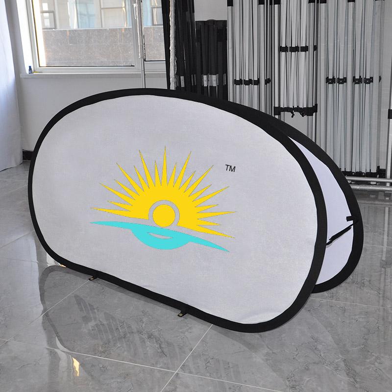 Хорошее качество, сделанный на заказ овальный выдвижной баннер для рекламы внутри и снаружи помещений