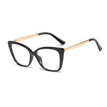 SO & EI, винтажные мужские и женские очки с кошачьими глазами, оправа для очков с металлическими ножками, прозрачные линзы TR90, удобные очки, опт...(Китай)
