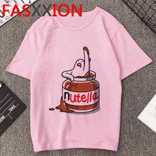 Nutella Футболка женская Kawaii мультфильм футболка летний топ размера плюс унисекс Забавные футболки с графикой женская футболка в Корейском ст...(China)
