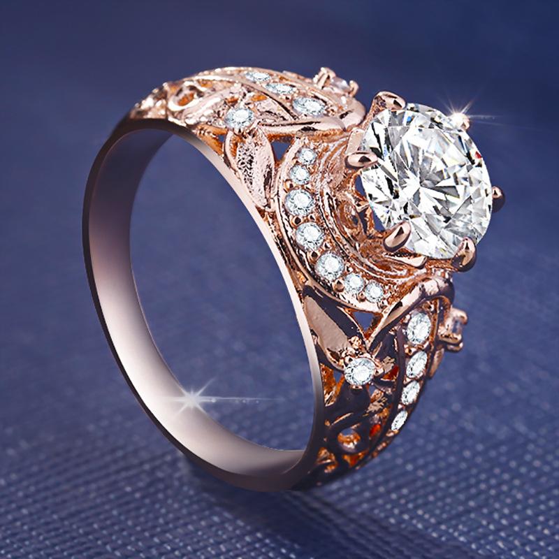 Rose Microinlaid Ring for Ladies White Topaz  - 1MRK.COM