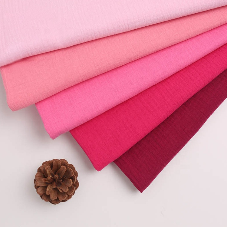 wholesale 100% cotton Organic Solid crinkle double cotton gauze muslin fabric with colors for rolls