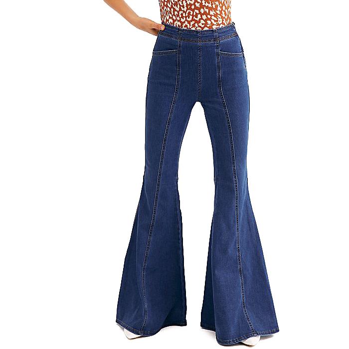 Vaqueros De Algodon A La Moda Para Mujer Jeans Altos Con Cintura Alta Acampanada Buy Pantalones Vaqueros Acampanados De Cintura Alta Venta Al Por Mayor De Vaqueros Rectos Ajustados De Talle Medio Personalizados