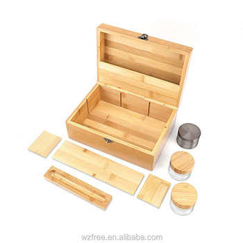 Custom reusable eco friendly bamboo wooden stash box Promotional smell proof grinder tobacco storage case