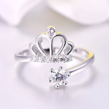 Princess Crown Adjustable 18k White Gold Zirconia Crystal Cz Ring