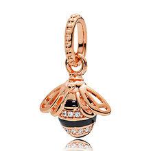 Роза мать и дочь сердца поклонник любви дикий цветок луг пчела Кулон бисера Fit Pandora браслет 925 пробы серебряный шарм(Китай)