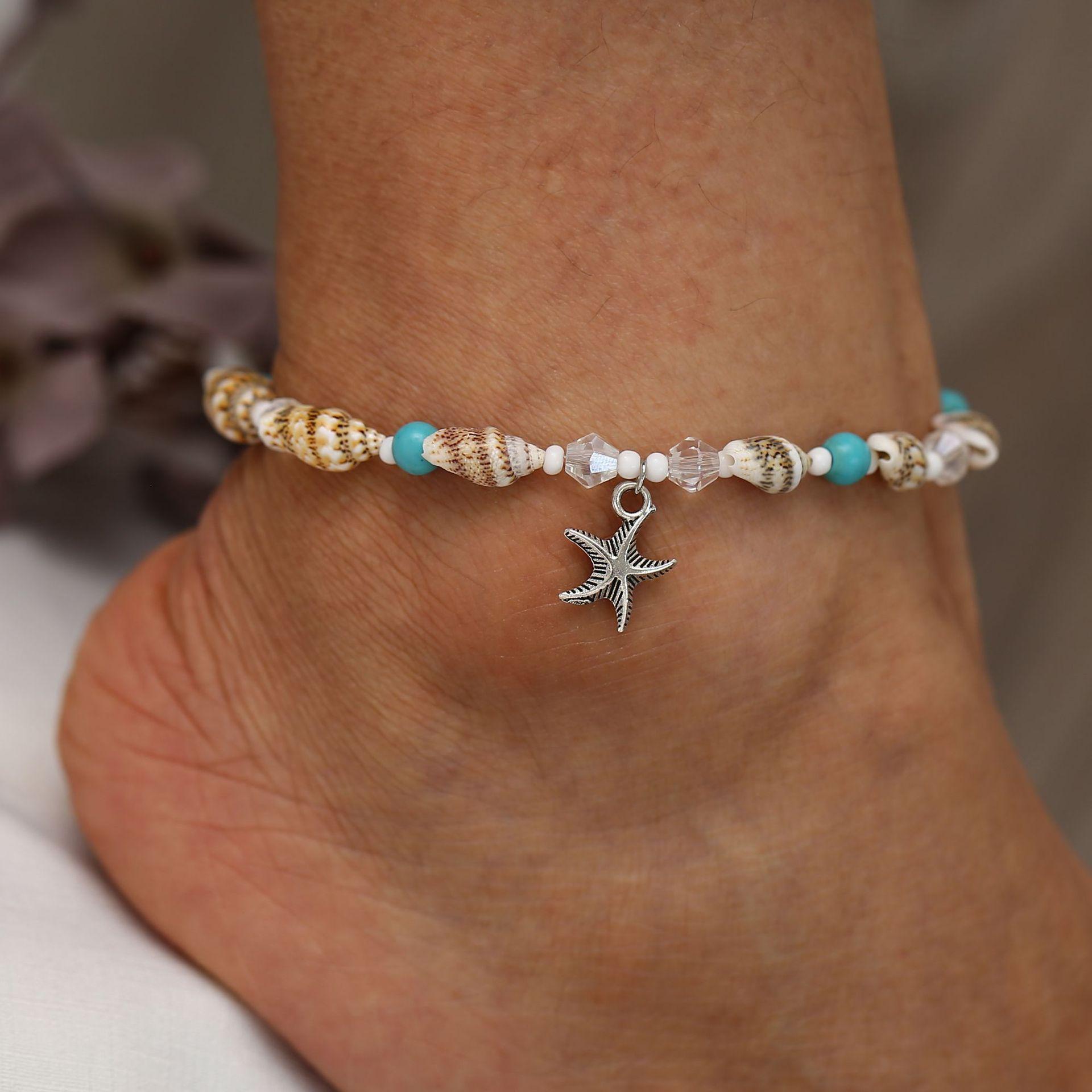 Handmade Bohemian Foot Chain Boho Beach Anklet Leg Bracelet Shell Beads Starfish Anklet