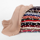 Hot solid 2020 fashion color Lace headband scarf Studded colorful pearl turban muslim women hijab scarf