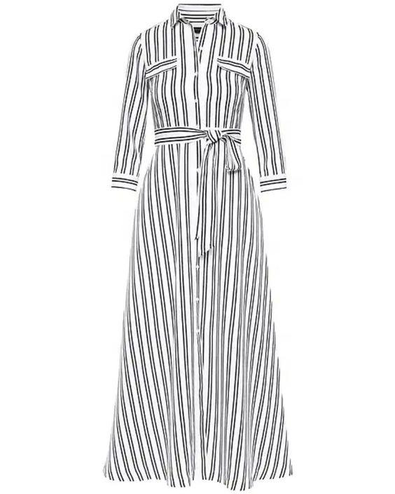 Custom Petite Girl Stripe Maxi Shirt Dress College Design Female Pockets Casual Dress Open Placket Long Dress - Buy Girl Shirt Dress,Female Casual ...