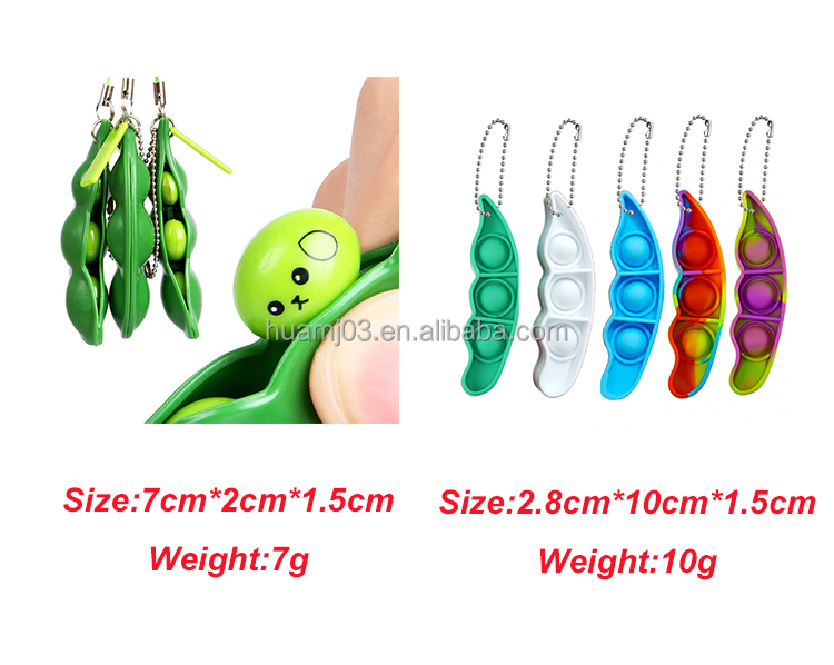 Squeeze Edamame Clip Pea Poppers For Phone Charm Pendant Unzip Small Fidget Popper Pops Its Keychain For Pea Pod Fidget Toys