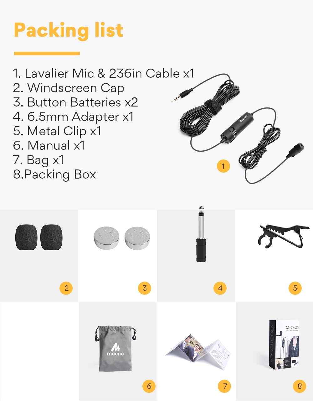 MAONO AU-100 Lavalier Microphone 3.5mm portable mini hidden microphone with microphone clip Electret Condenser