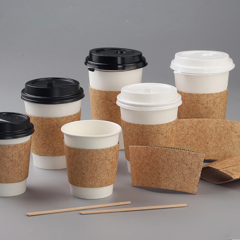High Quality White Disposable Cold Hot Drink Packaging Takeaway Paper Cup With Lid Kraft Paper Sleeve Coffee Takeaway Cup - Buy Takeaway Soup Cups,32 Oz Soup Cup Container With Lid,Biodegradable Bamboo Pulp
