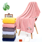 Embroidered Towel Coral Velvet Embroidered Bath Towel-oem Towel