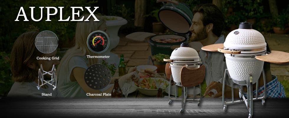 AUPLEX Kamado 21 inch XL Classic Ceramic Big Size Joe Green Color Egg Shaped Charcoal Bbq Grill Smoker